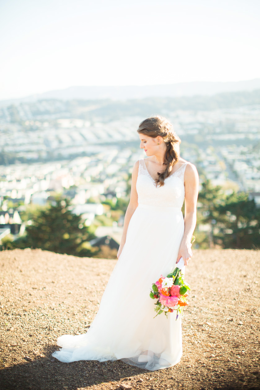 A bridal portrait at Bernal Heights before Terra Gallery Wedding in San Francisco