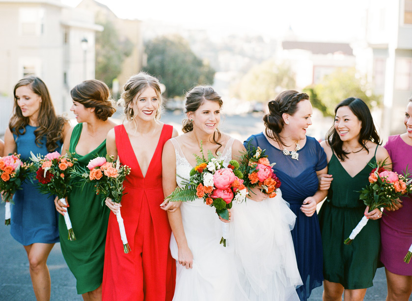 A bridal party stops at Bernal Heights in San Francisco before their Terra Gallery Wedding